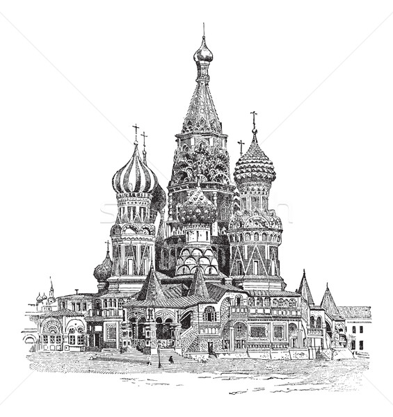 Saint Basil's Cathedral, in Moscow, Russia, vintage engraving Stock photo © Morphart