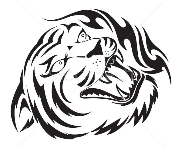Stock photo: Roaring tiger tattoo, vintage engraving.