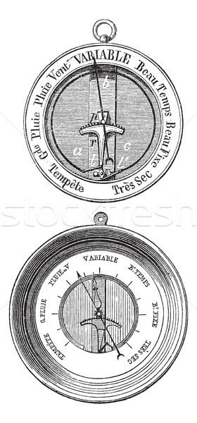 Two Bourdon barometers vintage engraving Stock photo © Morphart
