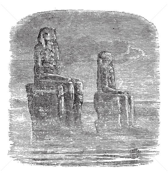 Standbeeld Egypte vintage gegraveerd illustratie Stockfoto © Morphart