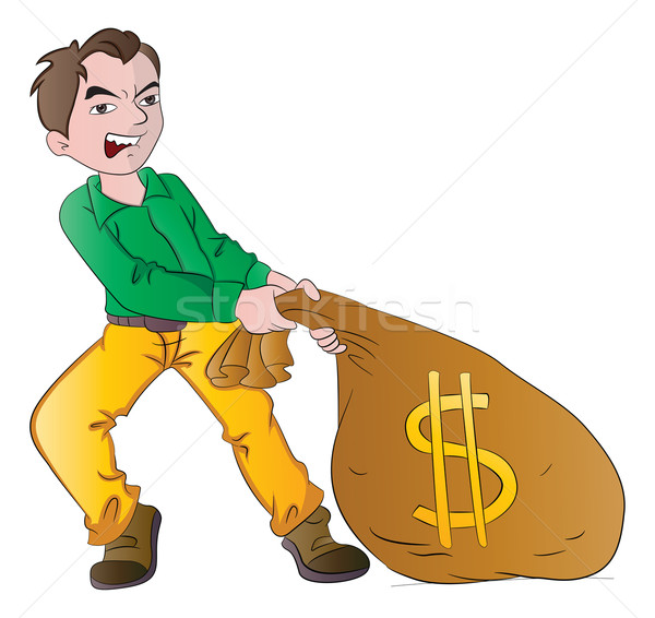 Man with a Bag of Money, illustration Stock photo © Morphart