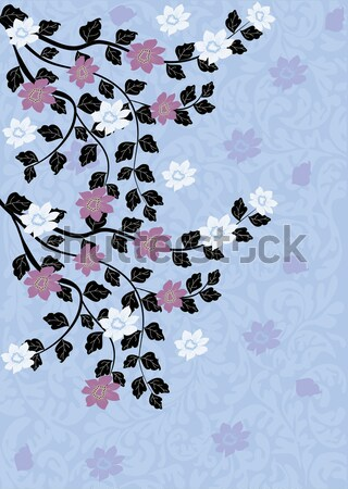 Vintage invitation card with ornate elegant floral design Stock photo © Morphart