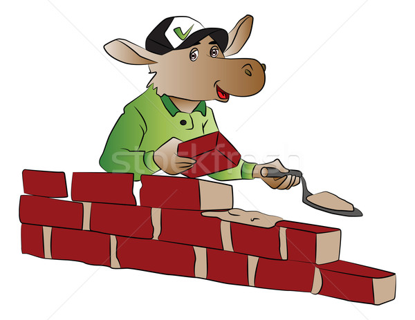 Vector of hippopotamus building a brick wall. Stock photo © Morphart