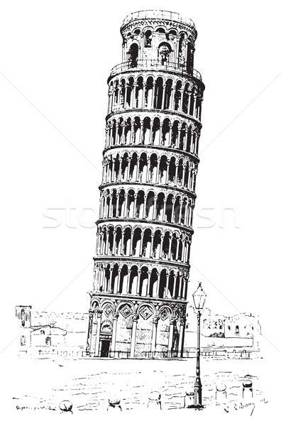 Leaning tower of Pisa or Tower of Pisa, vintage engraving. Stock photo © Morphart