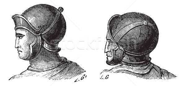 Legionary helmets vintage engraving Stock photo © Morphart