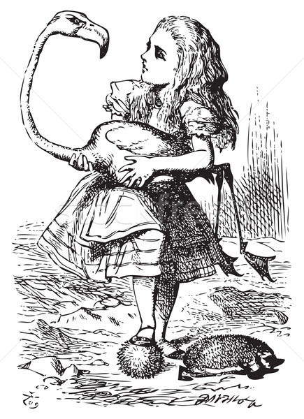 Alice trying to play croquet with flamingo and hedgehog - Alice' Stock photo © Morphart