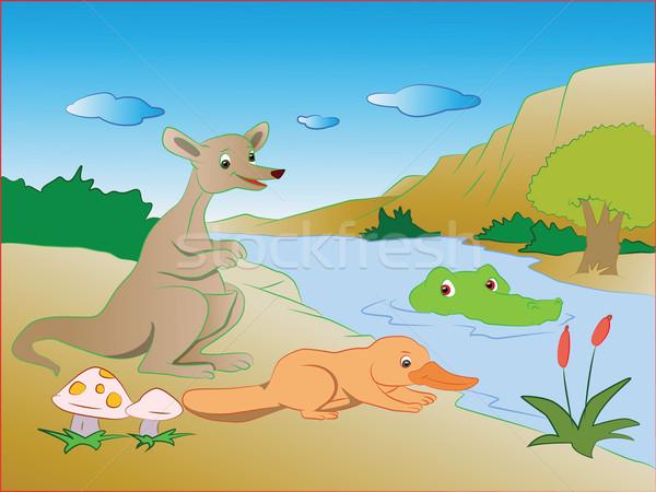 Vettore coccodrillo lago preda canguro acqua Foto d'archivio © Morphart
