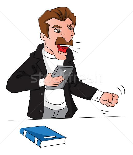 Сток-фото: вектора · сердиться · человека · книга