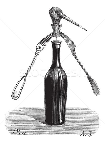 Figo truque de mágica vintage gravado ilustração Foto stock © Morphart