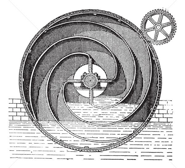 Turbine roue vintage gravure gravé illustration Photo stock © Morphart