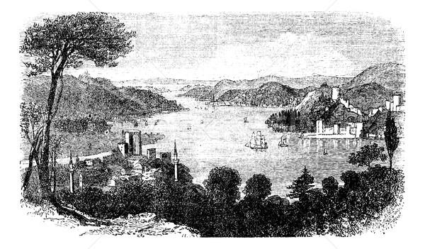or Istanbul Strait, in Istanbul, Turkey, vintage engraving Stock photo © Morphart