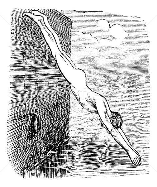 Position During Diving, vintage engraved illustration Stock photo © Morphart
