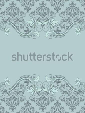 Vintage синий дамаст приглашения цветочный Элементы Сток-фото © Morphart