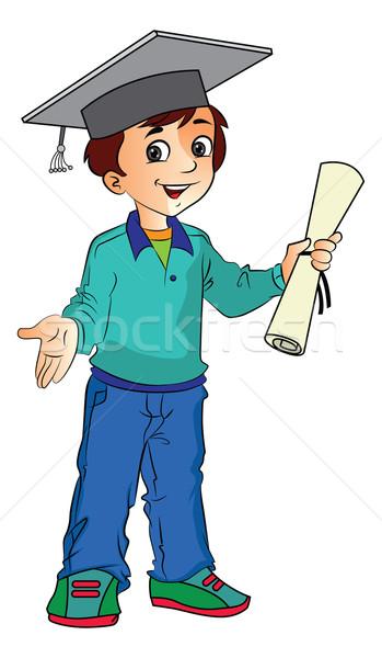 мальчика выпускник иллюстрация диплом детей Сток-фото © Morphart