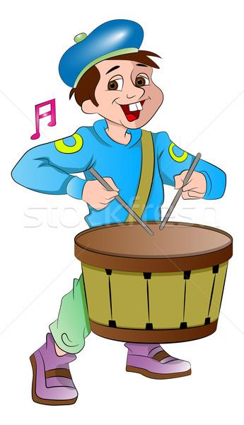 Kicsi dobos fiú illusztráció zene hang Stock fotó © Morphart