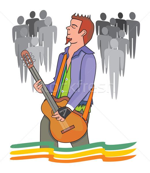 Uomo giocare chitarra illustrazione pubblico party Foto d'archivio © Morphart