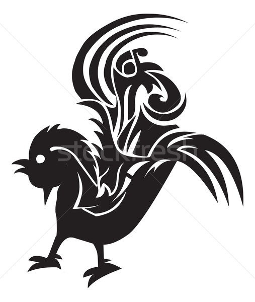 Cock tattoo design, vintage engraving. Stock photo © Morphart