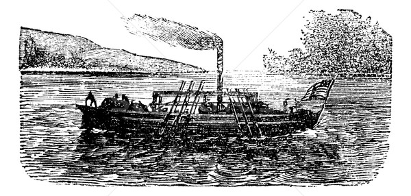The Steam Boat, experiment, by  John Fitch, USA, 1786, vintage e Stock photo © Morphart