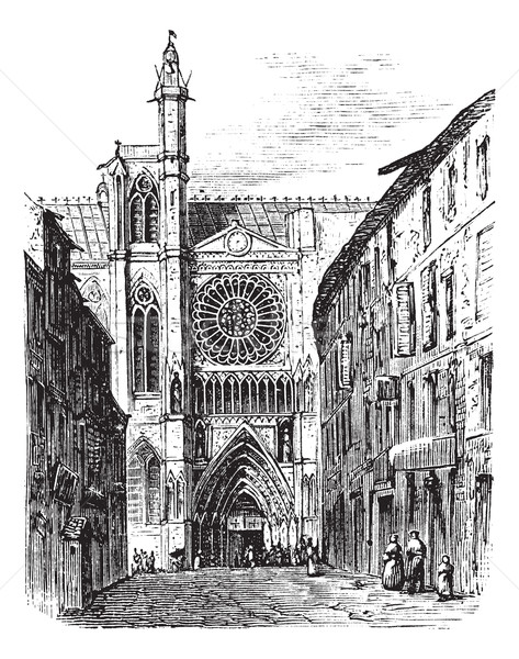 Clermont-Ferrand Cathedral, in Auvergne, France, vintage engravi Stock photo © Morphart