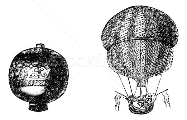 First balloon or Hot air balloon, vintage engraving Stock photo © Morphart