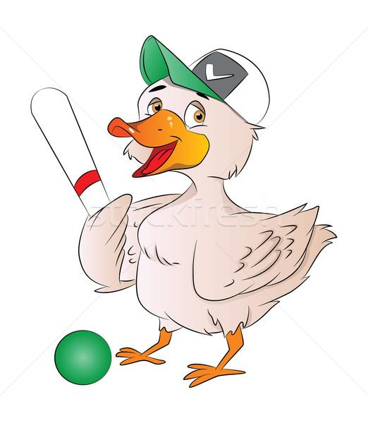 утки бейсболиста иллюстрация Cap Bat мяча Сток-фото © Morphart