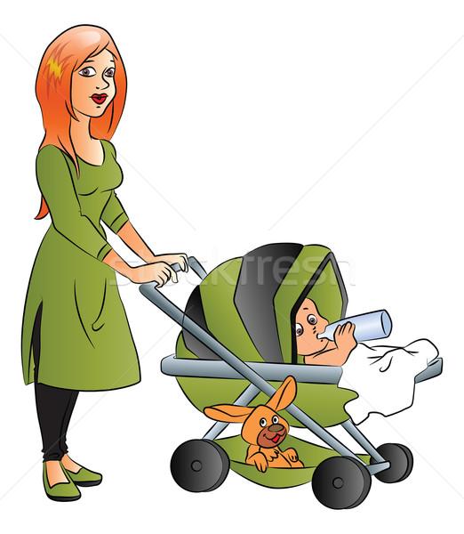Vector madre bebé potable leche cochecito Foto stock © Morphart