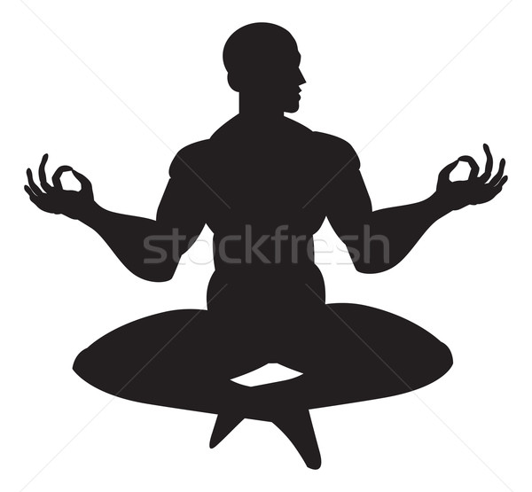 Moine méditation illustration silhouette homme corps Photo stock © Morphart