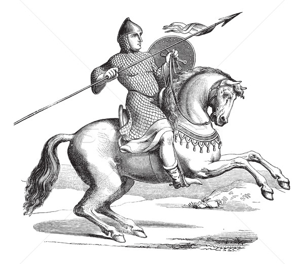 Knight on a horse wearing hauberk vintage engraving Stock photo © Morphart