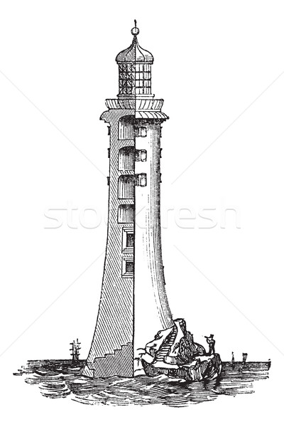 Eddystone Lighthouse, in England, United Kingdom, vintage engrav Stock photo © Morphart