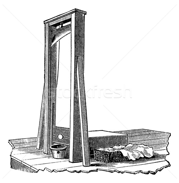Guillotine isolated on white, vintage engraving Stock photo © Morphart