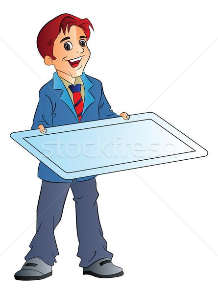 Man Holding an Illustration Board, illustration Stock photo © Morphart