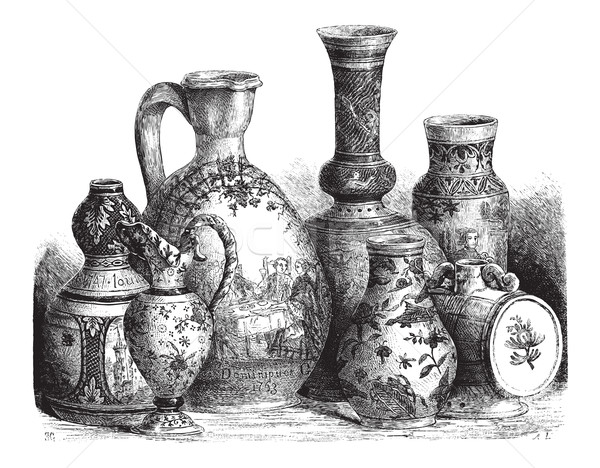 Various Earthenwares, vintage engraving Stock photo © Morphart