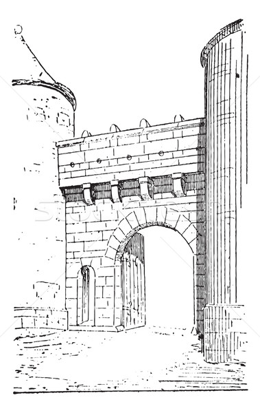 The gate of Flavigny-sur-Ozerain vintage engraving Stock photo © Morphart