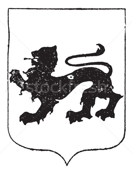 Walking Lion in Coat of Arms, vintage engraving Stock photo © Morphart