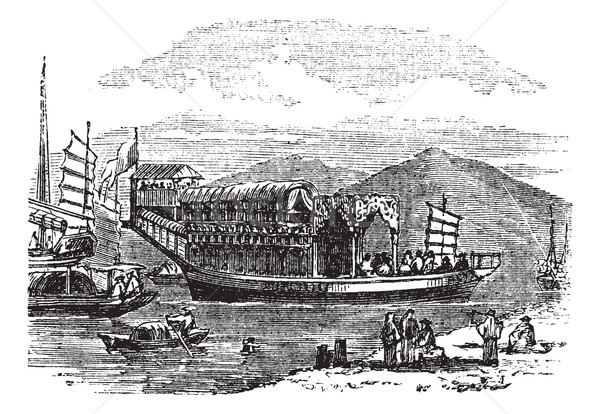 Flower boat, in Canton or Guangzhou, China vintage engraving Stock photo © Morphart