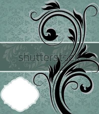 Epocă albastru damasc invitaţie element Imagine de stoc © Morphart