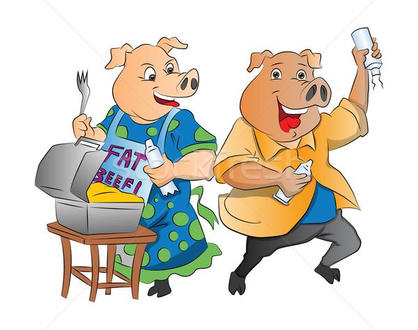 Iki domuzlar örnek öğle yemeği kutu krem şanti Stok fotoğraf © Morphart
