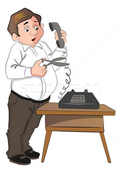 Wektora człowiek cięcie telefon przewód nożyczki Zdjęcia stock © Morphart