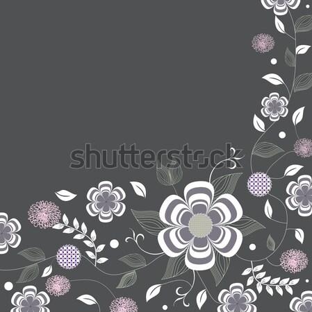 Vintage invitation card with elegant retro floral design Stock photo © Morphart