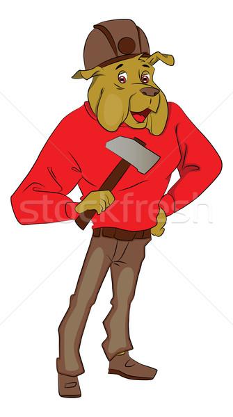 Vector of dog holding an axe. Stock photo © Morphart