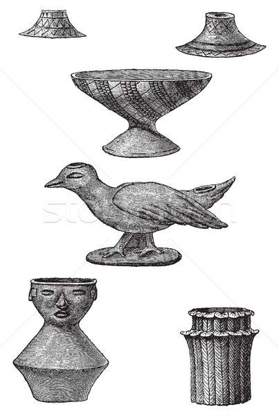 Clay objects found in the tombs of Turbaco, vintage engraving. Stock photo © Morphart