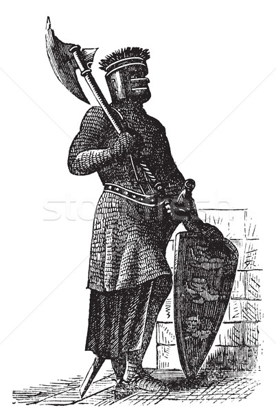 Stock photo: Armor and weapons during the first Crusades era, old engraving