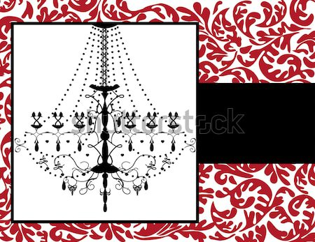 Vintage card with floral design and chandelier Stock photo © Morphart