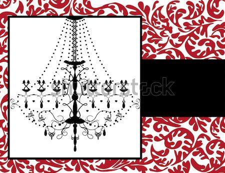 Vintage карт цветочный дизайна люстра черный Сток-фото © Morphart