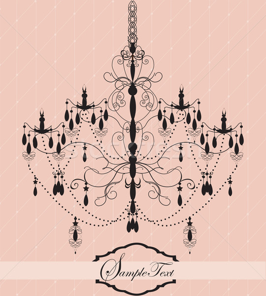 Vintage invitation card with chandelier Stock photo © Morphart