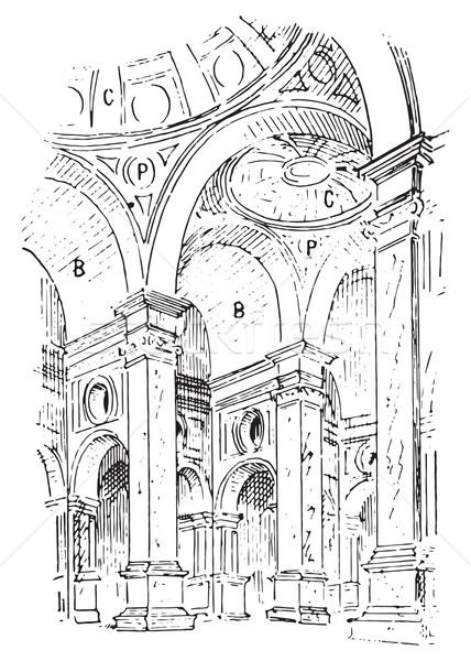 Tetto chiesa Italia vintage inciso illustrazione Foto d'archivio © Morphart