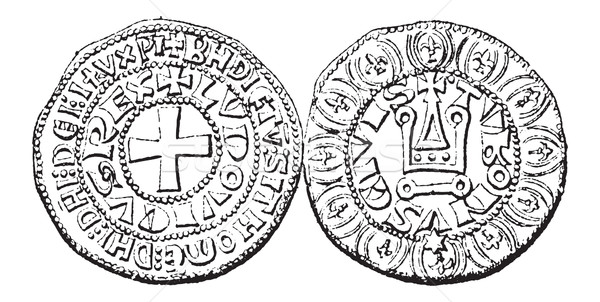 Coin Currency, Louis IX of France, vintage engraving Stock photo © Morphart