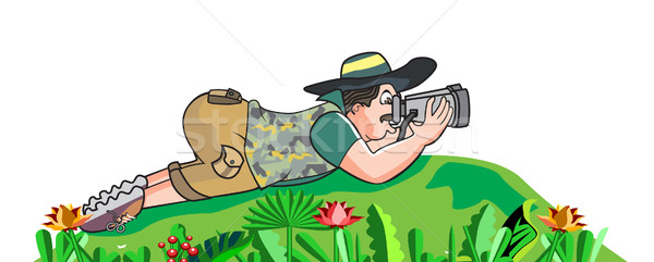 Safari chasseur illustration sol regarder jumelles Photo stock © Morphart