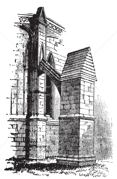 Buttress arch of Lincoln Cathedral chapter, England. Old engravi Stock photo © Morphart