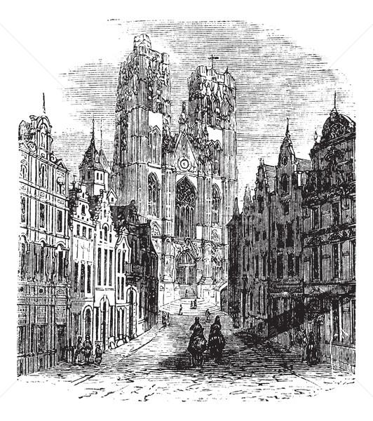 Kilise Brüksel Belçika bağbozumu oyma eski Stok fotoğraf © Morphart